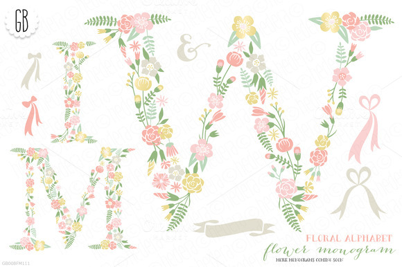 Flower Monogram Floral Type W M I