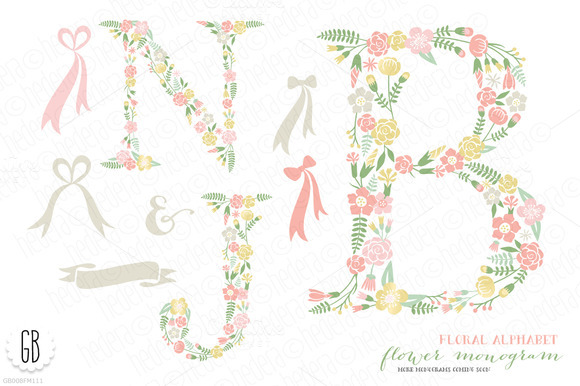Flower Monogram Floral Type B J N