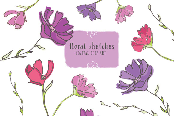 Floral Sketches Floral Clip Art
