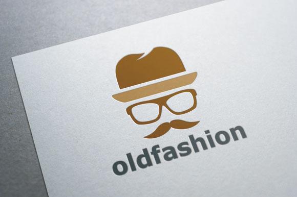 Old Fashion Mustache Man Logo