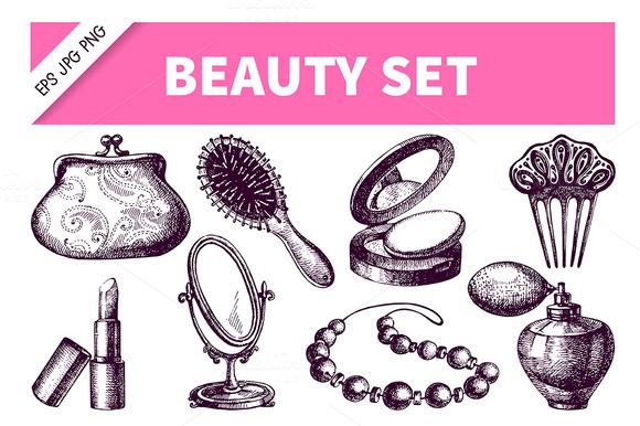 Beauty Cosmetics Hand Drawn Set