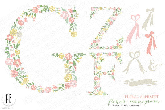 Flower Monogram Floral Type F Z G