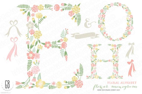 Flower Monogram Floral Type H O E