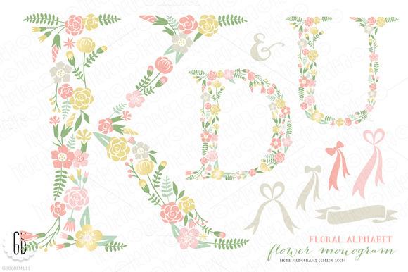 Flower Monogram Floral Type K U D