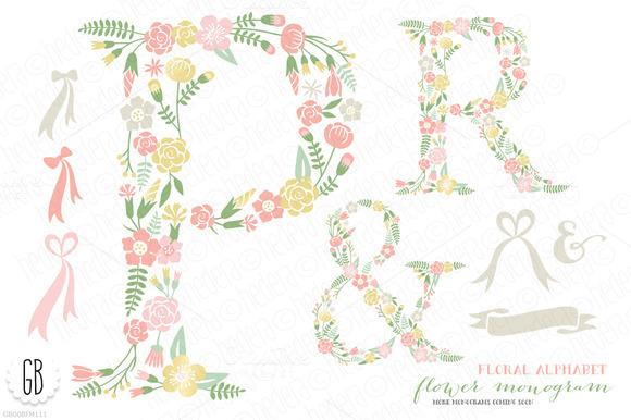 Flower Monogram Floral Type P R
