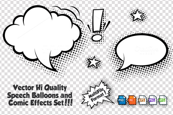 Comic Speech Bubbles Vector Set