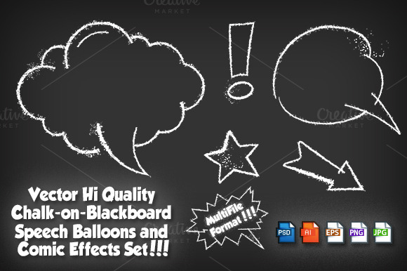 Comic Speech Chalkboard Vector Set