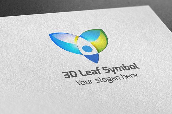 3D Leaf Symbol Logo