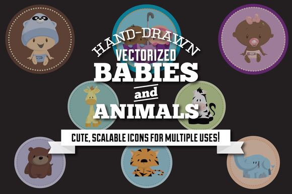 Hand-Drawn Baby Animal Graphics