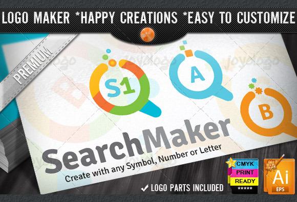 Flat Colorful Search Logo Maker Set