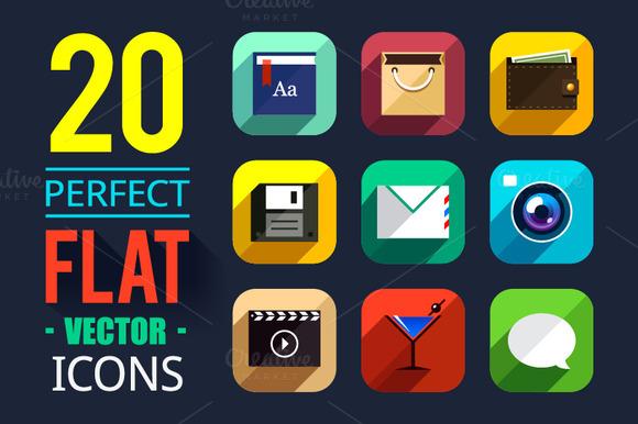 20 Flat App Icons