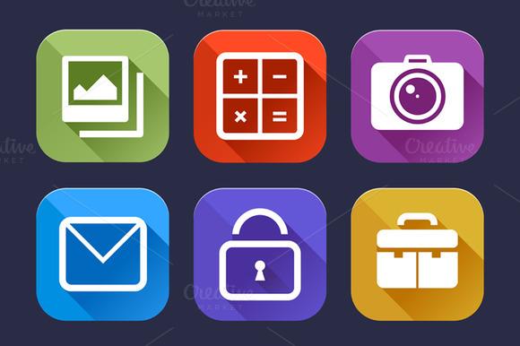 9 Flat Icons Set