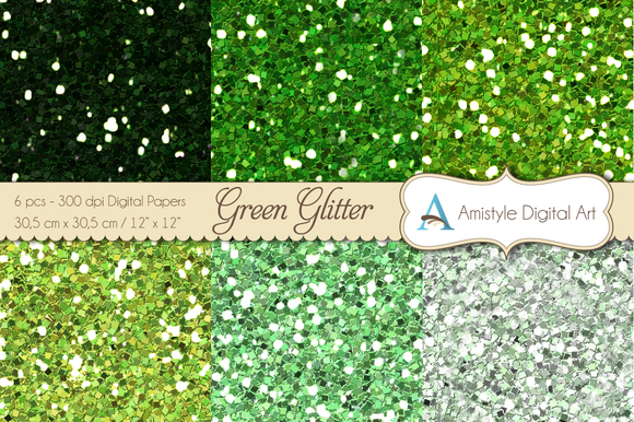 Glitter Green-Digital Papers