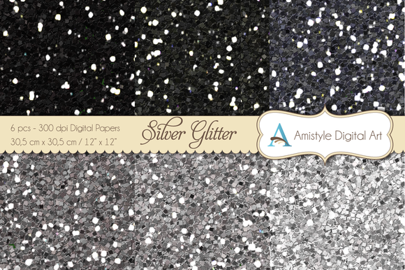 Glitter Silver-Digital Papers