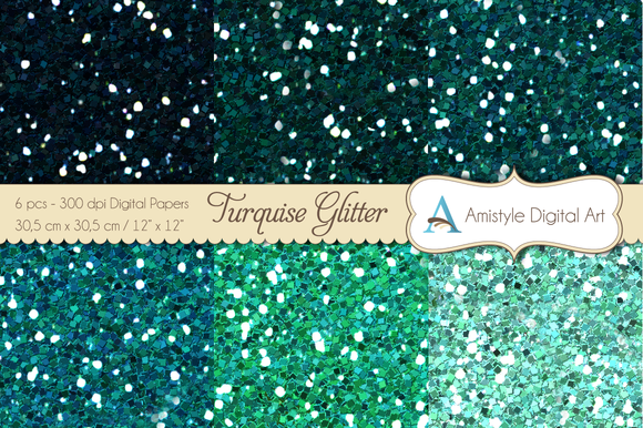 Glitter Turquoise-Digital Papers
