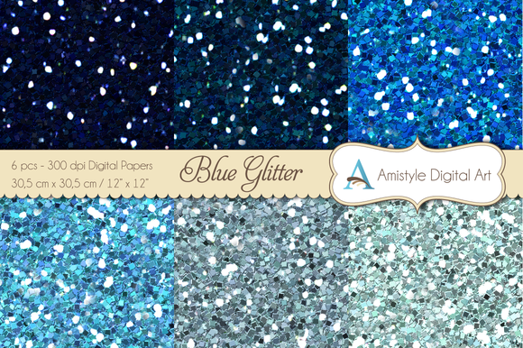 Glitter Blue-Digital Papers