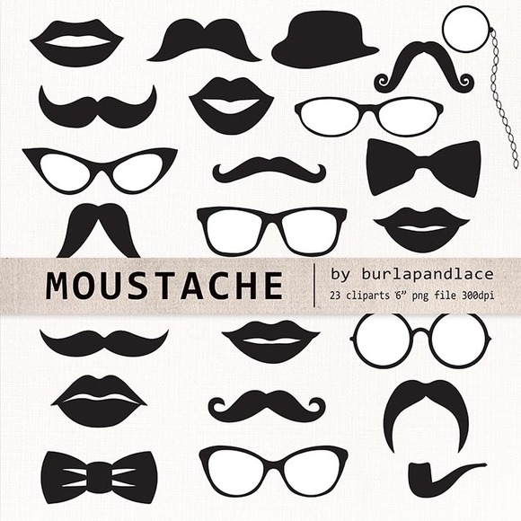 Mustache Cliparts Retro Party