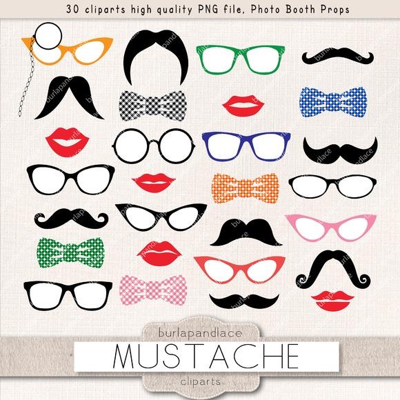 Mustache Party Clipart