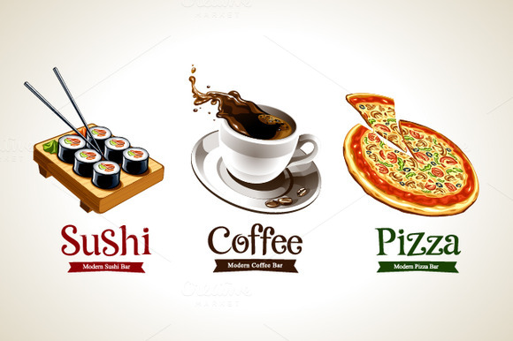 3 Cafe Logo Illustrations