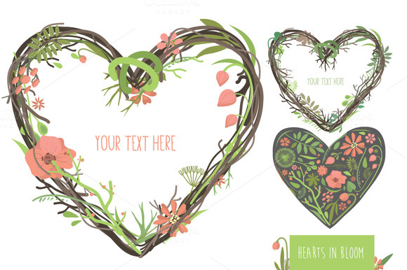 Hearts In Bloom Vector Set