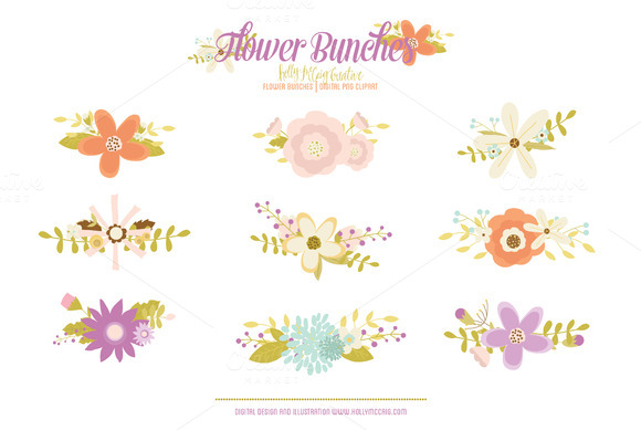Whimsy Flower Bunches PNG Clipart