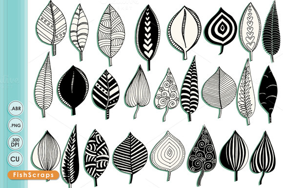 Doodled Leaves Clip Art