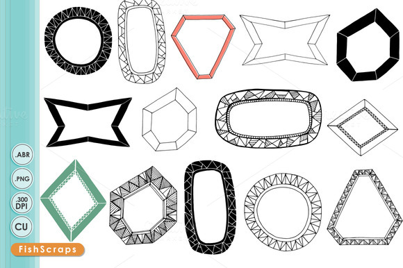 Geometric Frame Label Clip Art