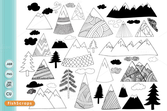 Hand Drawn Mountain Clip Art