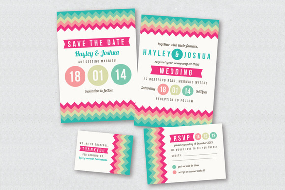 Colorful Chevron Wedding Invitation