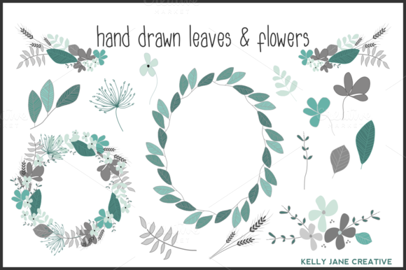 Blue Gray Hand Drawn Blooms