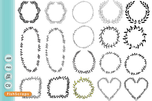 Laurel Wreath Frames Digital Stamps