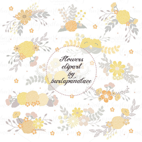 Flowers Clipart Yellow Grey