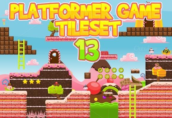 Platformer Game Tile Set 13
