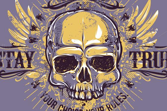Grunge Skull Print #4