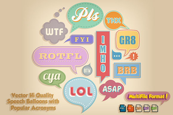 Net Abbreviation Vector Chat Bubbles