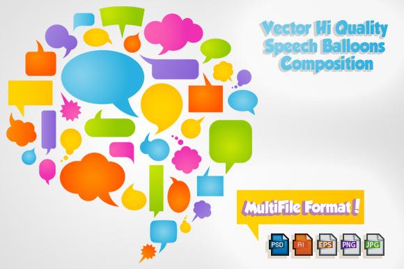 Colorful Vector Comic Bubbles