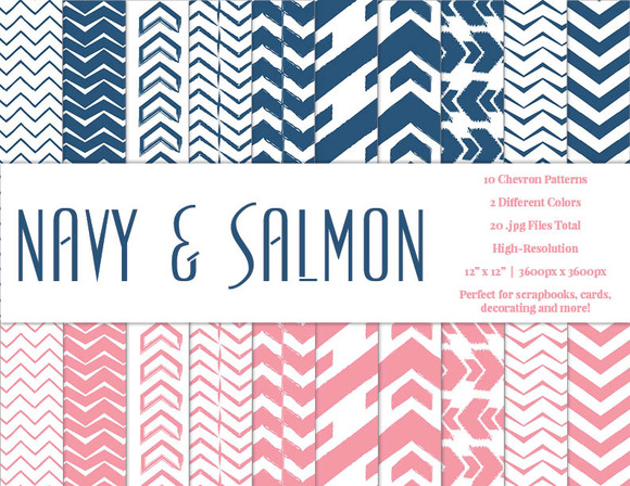 Navy Salmon Chevron Pattern Papers