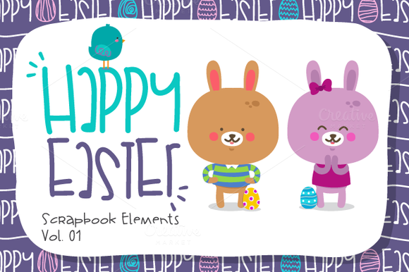 Happy Easter-Scrapbook Elements.Vol1