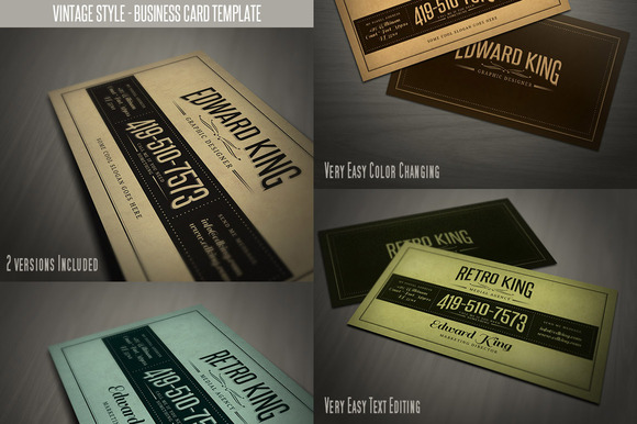 Retro Business Card Template 06