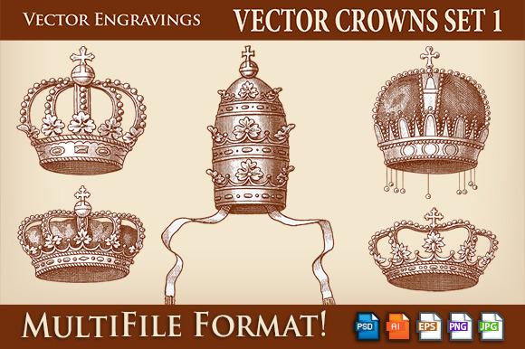 Vector Crowns Engravings