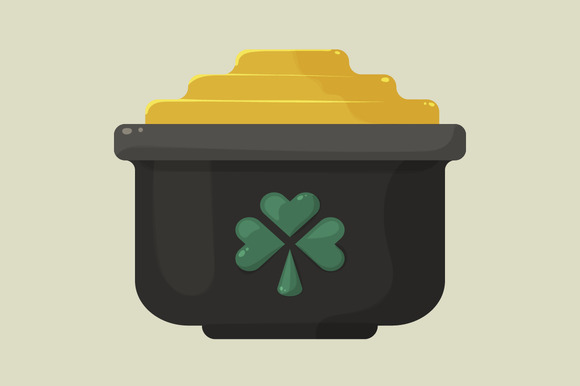 Stylized Shiny Cartoon Pot Of Gold