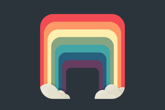 Stylized Square Rainbow With Clouds