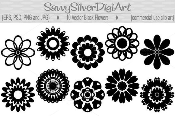 Black Flower Vectors1
