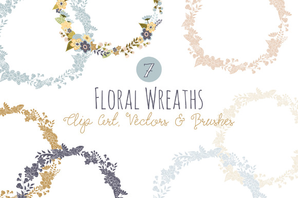 Floral Wreath Overlays Vectors