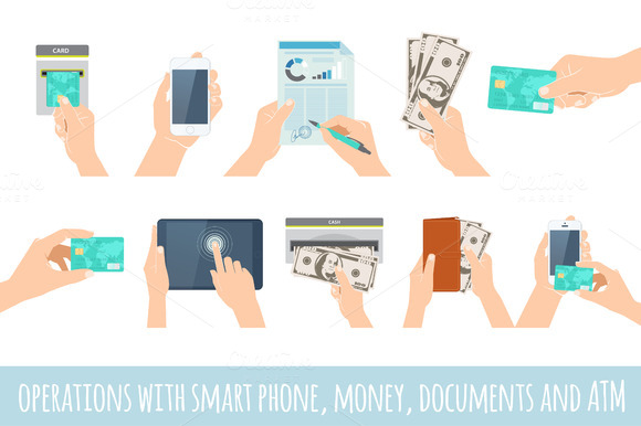 Hands Holding Smart Phone Money