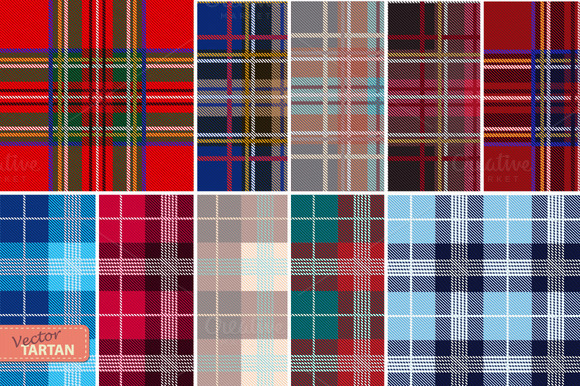 Set Of 10 Seamless Tartan Patterns