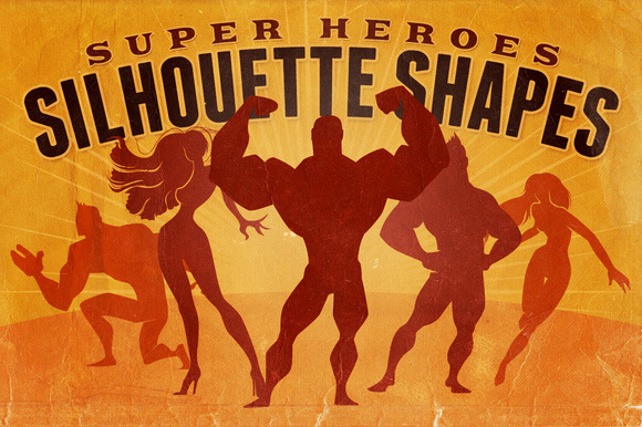 Silhouette Shapes Super Heroes