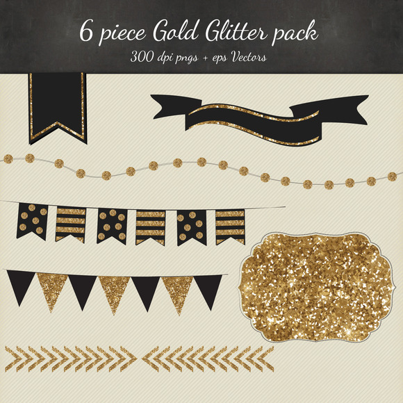 Gold Glitter Vectro PNG 6 Pack