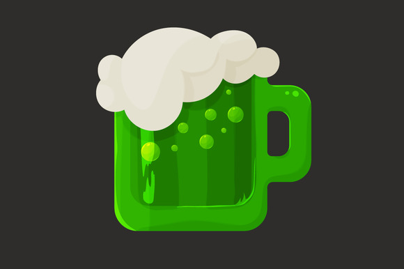 Stylized Green Beer And Foam