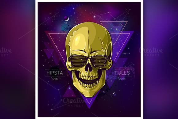 Hipster Skull Illustration